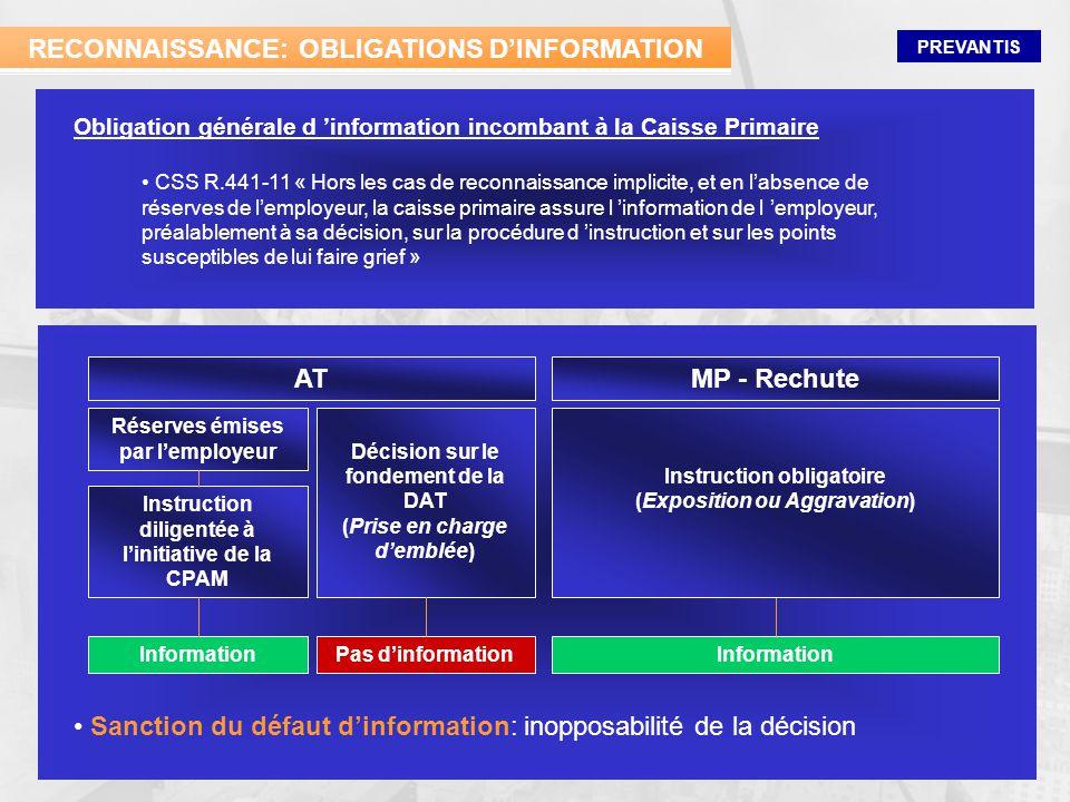 RECONNAISSANCE: OBLIGATIONS D'INFORMATION