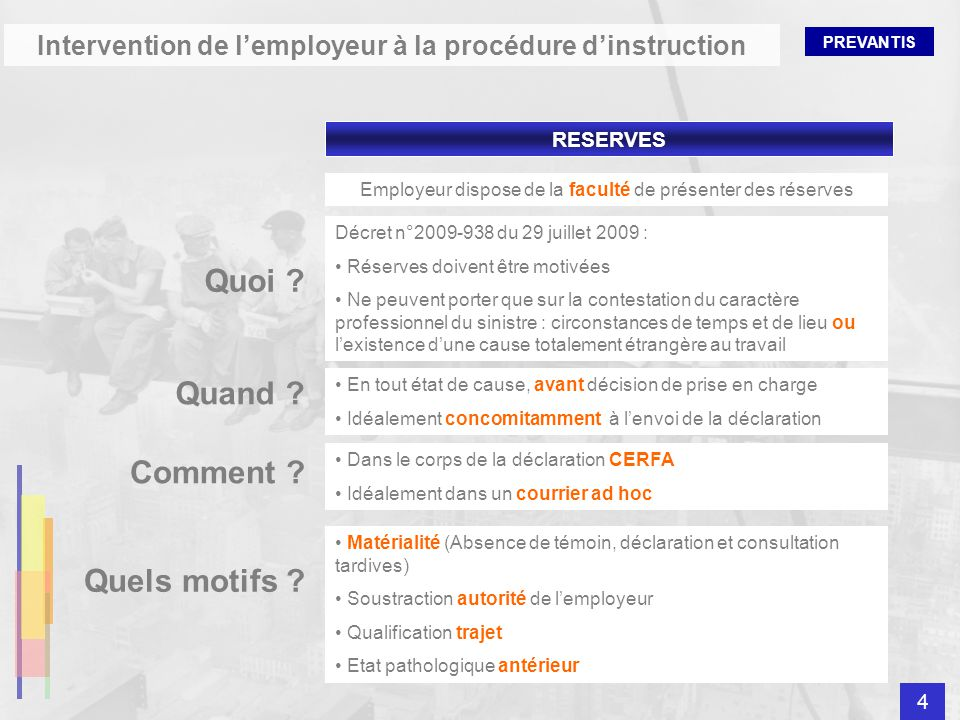 Intervention de l'employeur à la procédure d'instruction