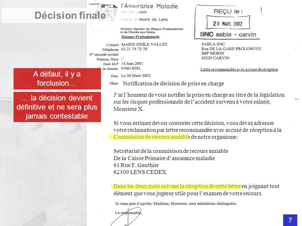Décision finale A défaut, il y a forclusion…