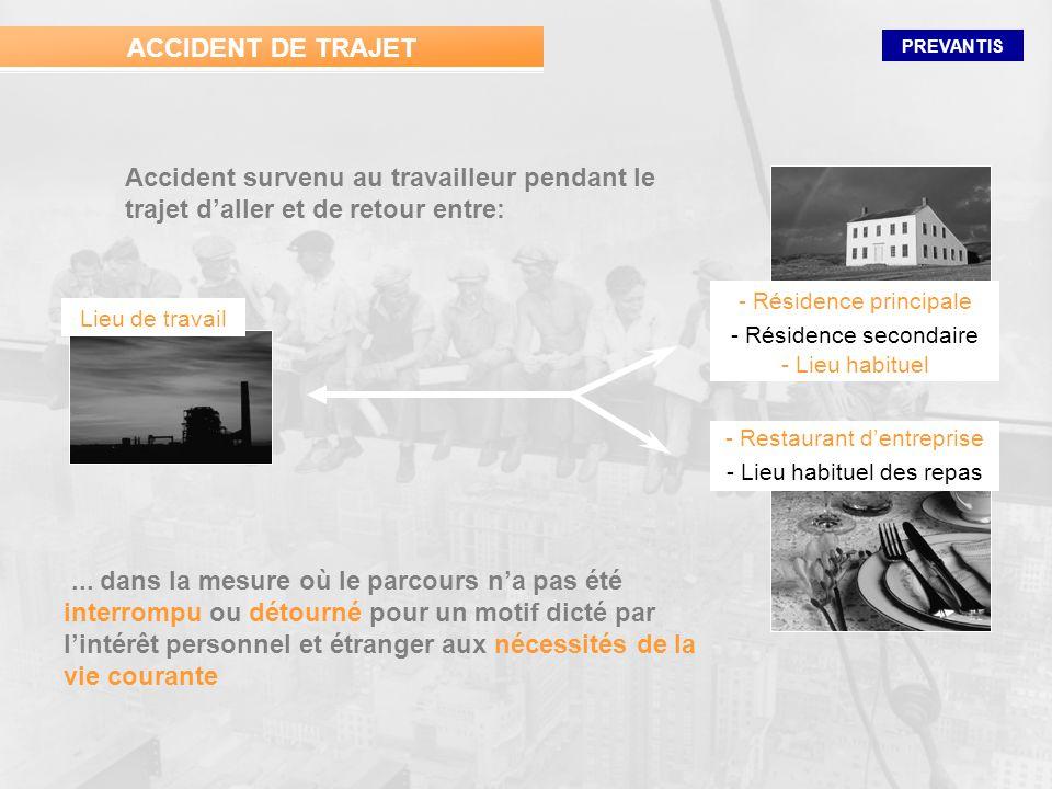 ACCIDENT DE TRAJET Accident survenu au travailleur pendant le trajet d'aller et de retour entre: - Résidence principale.