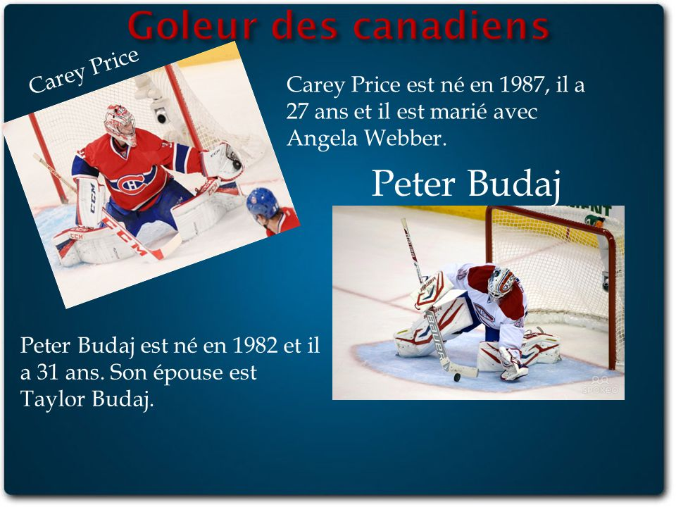 Goleur des canadiens Peter Budaj