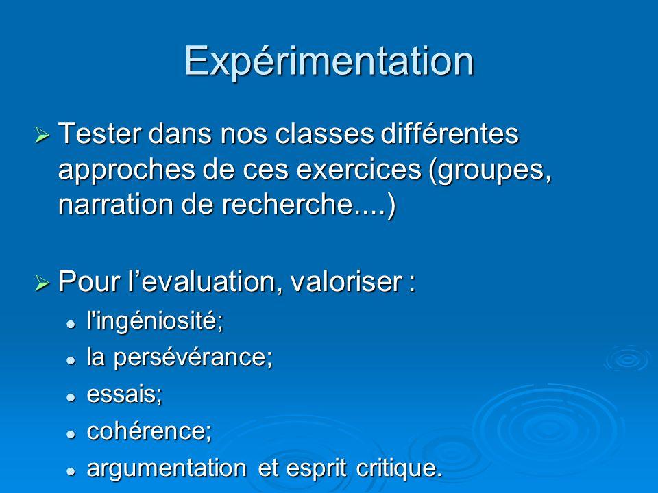 Expérimentation Tester dans nos classes différentes approches de ces exercices (groupes, narration de recherche....)