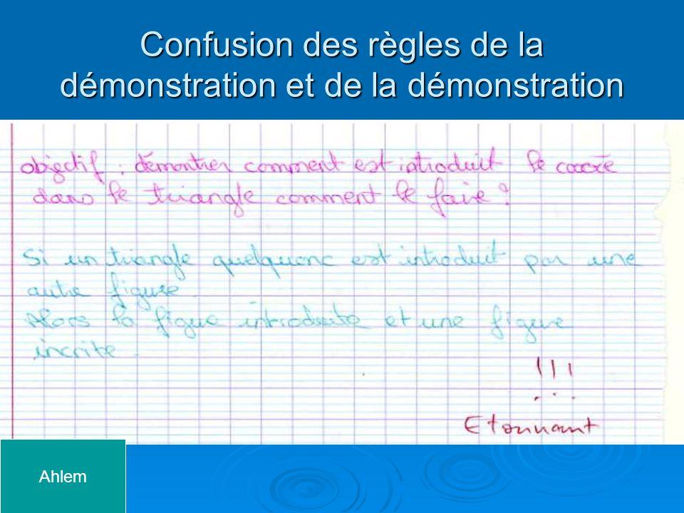 Confusion des règles de la démonstration et de la démonstration
