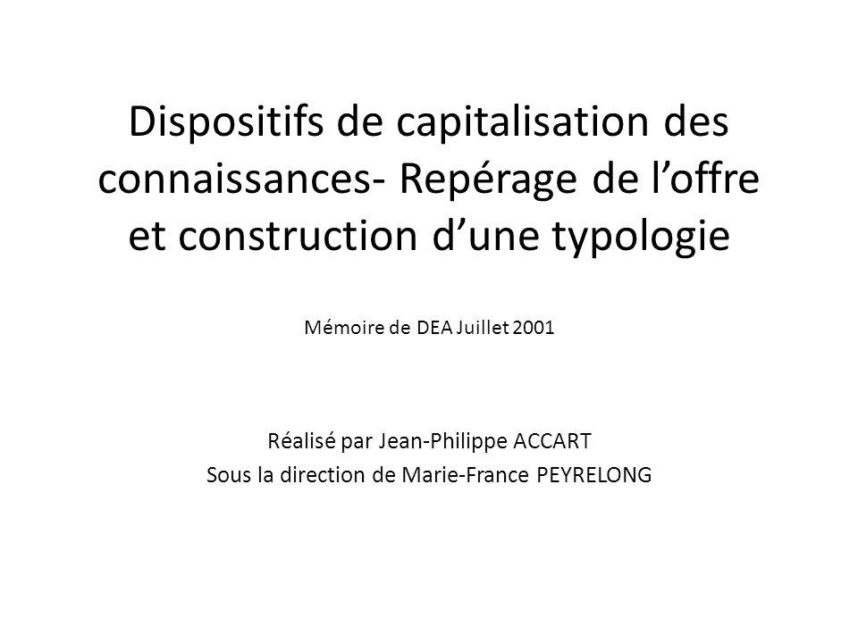 Dispositifs de capitalisation des connaissances- Repérage de l'offre et construction d'une typologie Mémoire de DEA Juillet 2001