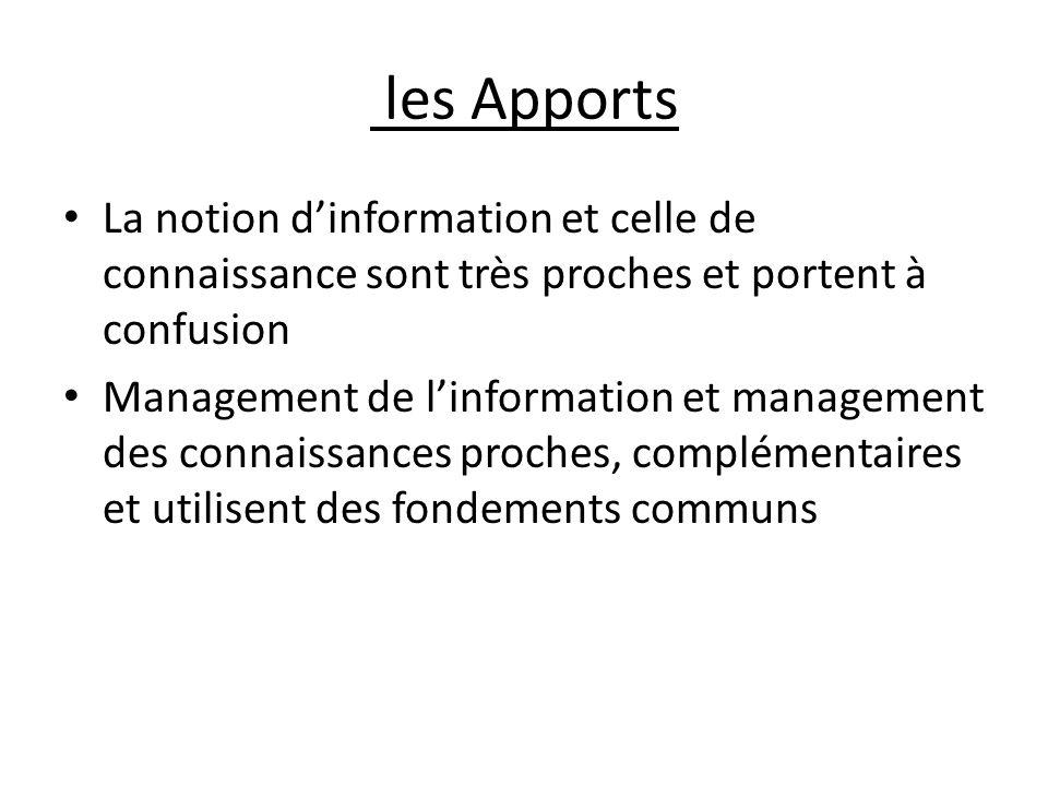 les Apports La notion d'information et celle de connaissance sont très proches et portent à confusion.