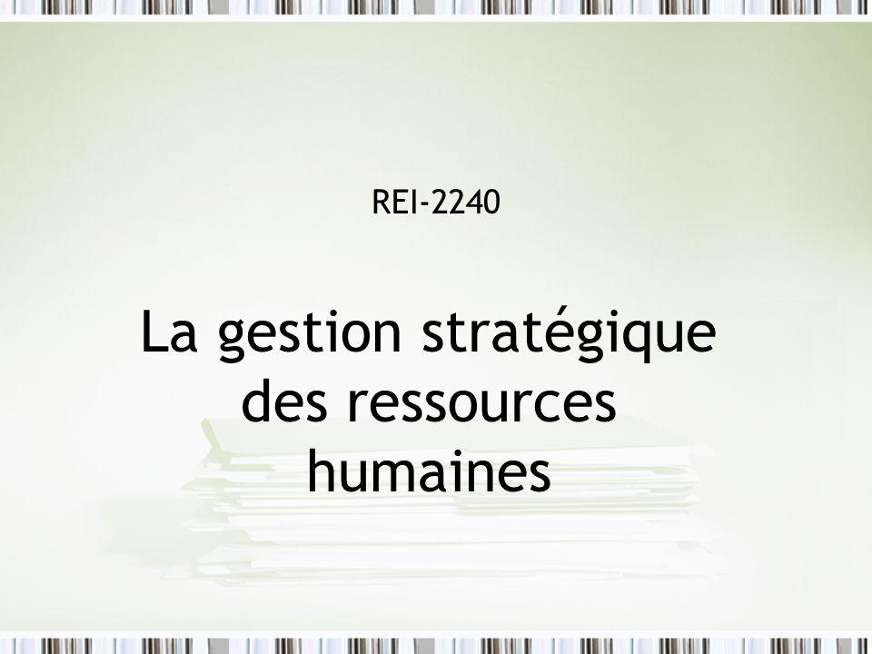 La gestion stratégique des ressources humaines