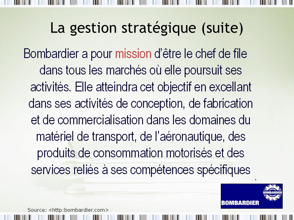 La gestion stratégique (suite)