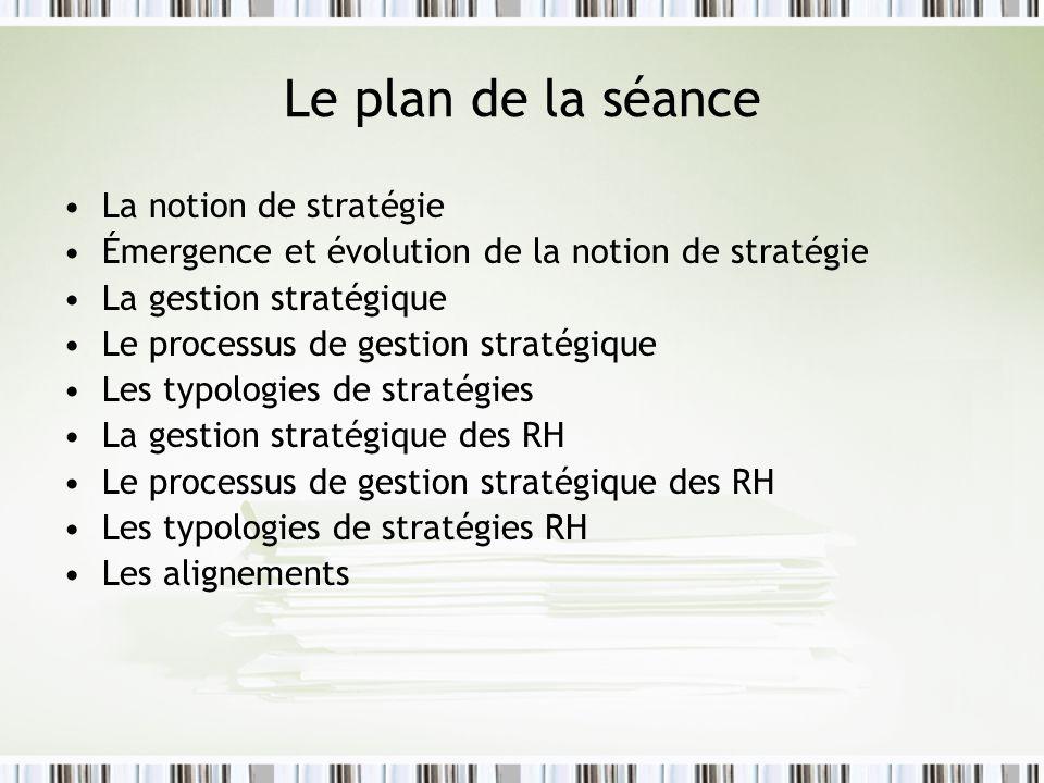 Le plan de la séance La notion de stratégie