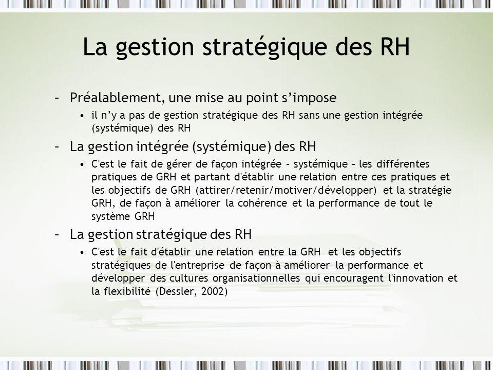 La gestion stratégique des RH