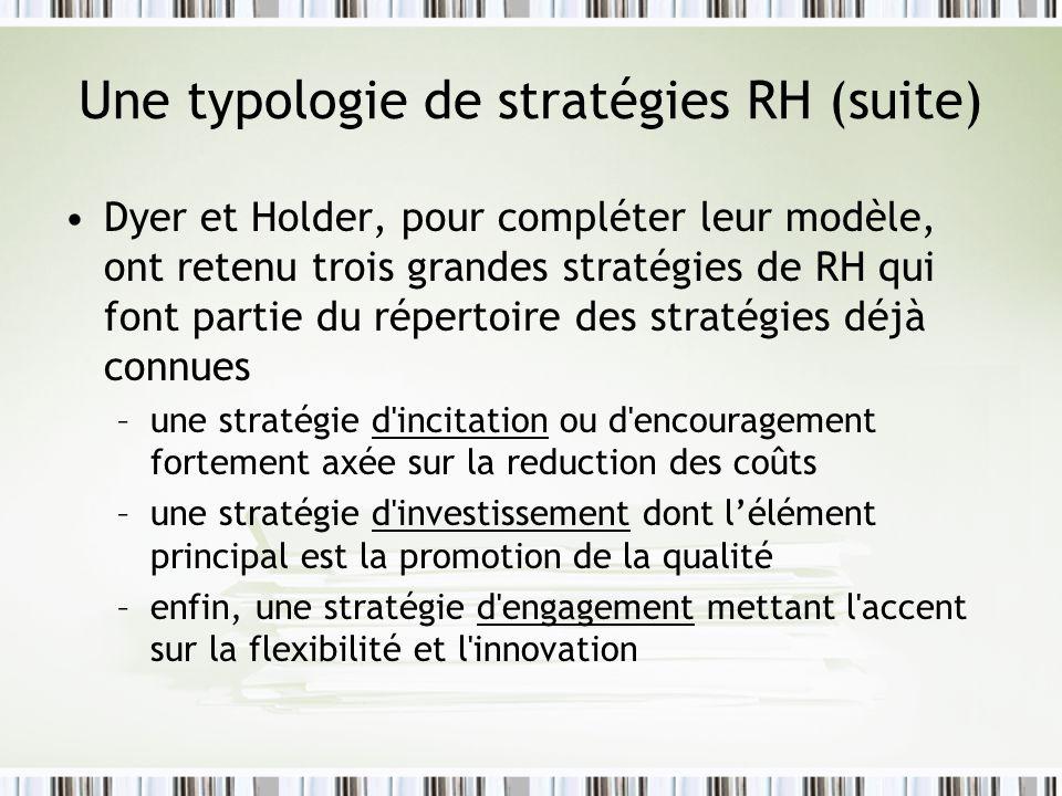 Une typologie de stratégies RH (suite)