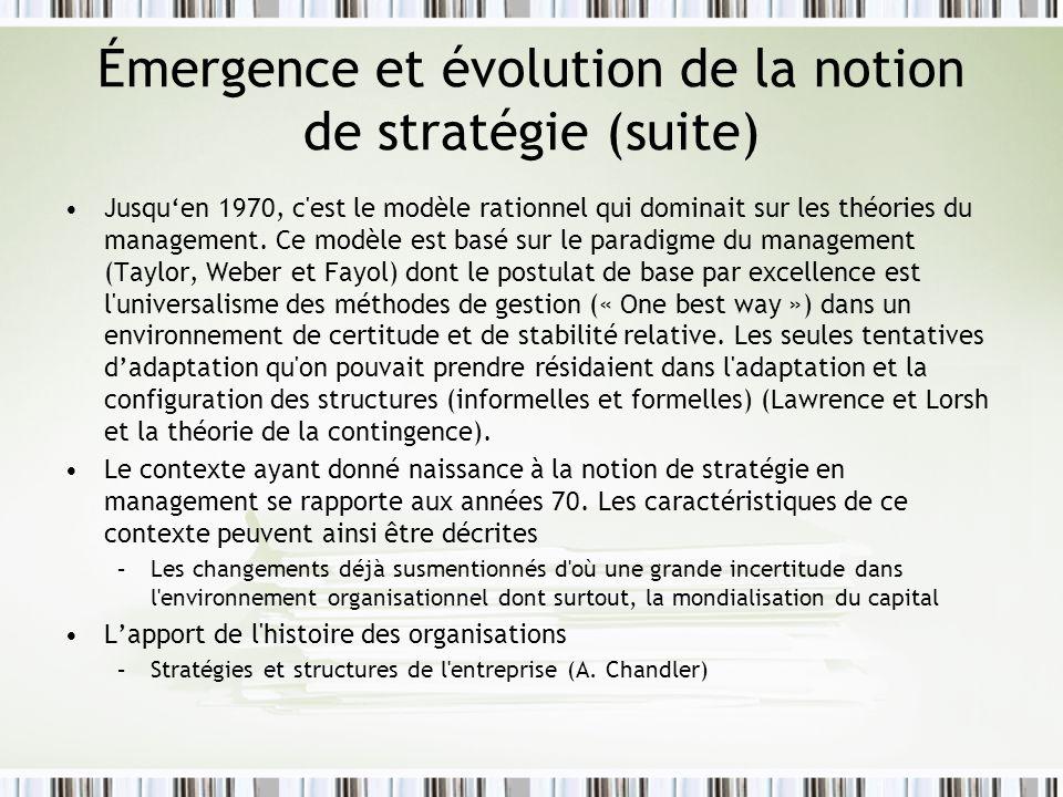 Émergence et évolution de la notion de stratégie (suite)
