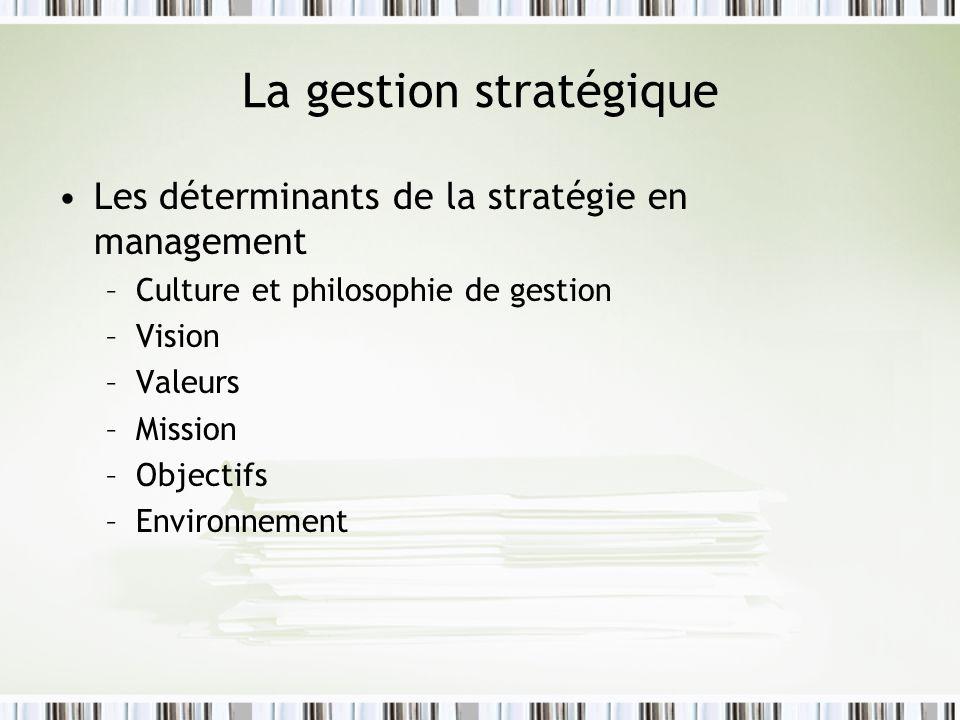 La gestion stratégique