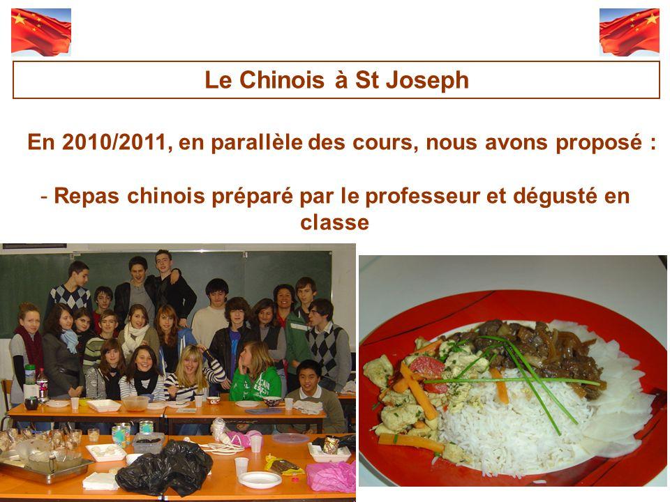 Le Chinois à St Joseph En 2010/2011, en parallèle des cours, nous avons proposé : Repas chinois préparé par le professeur et dégusté en classe.