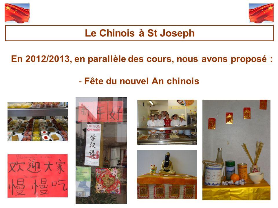 Le Chinois à St Joseph En 2012/2013, en parallèle des cours, nous avons proposé : Fête du nouvel An chinois.