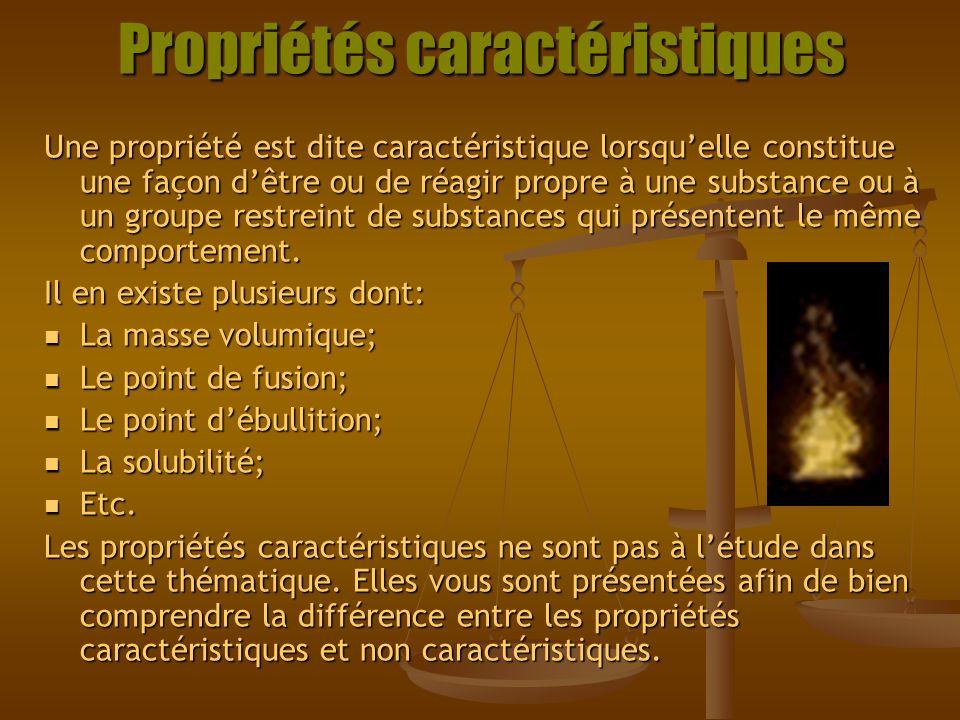 Propriétés caractéristiques