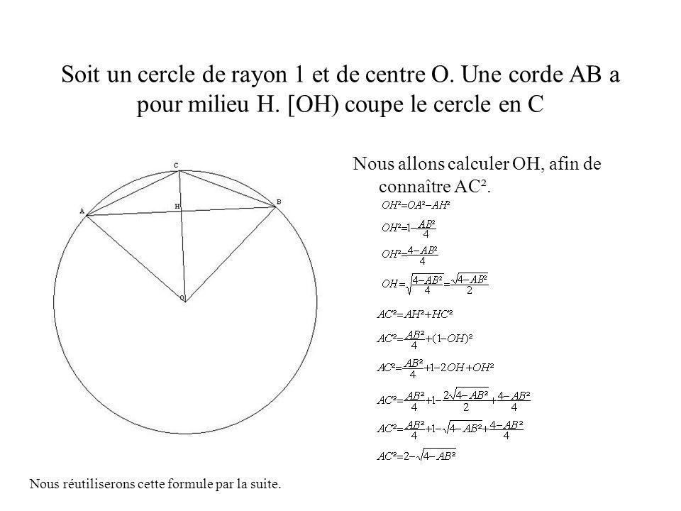 Soit un cercle de rayon 1 et de centre O. Une corde AB a pour milieu H