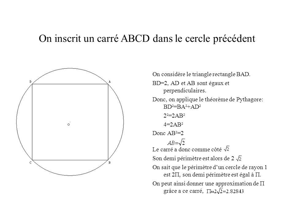 On inscrit un carré ABCD dans le cercle précédent