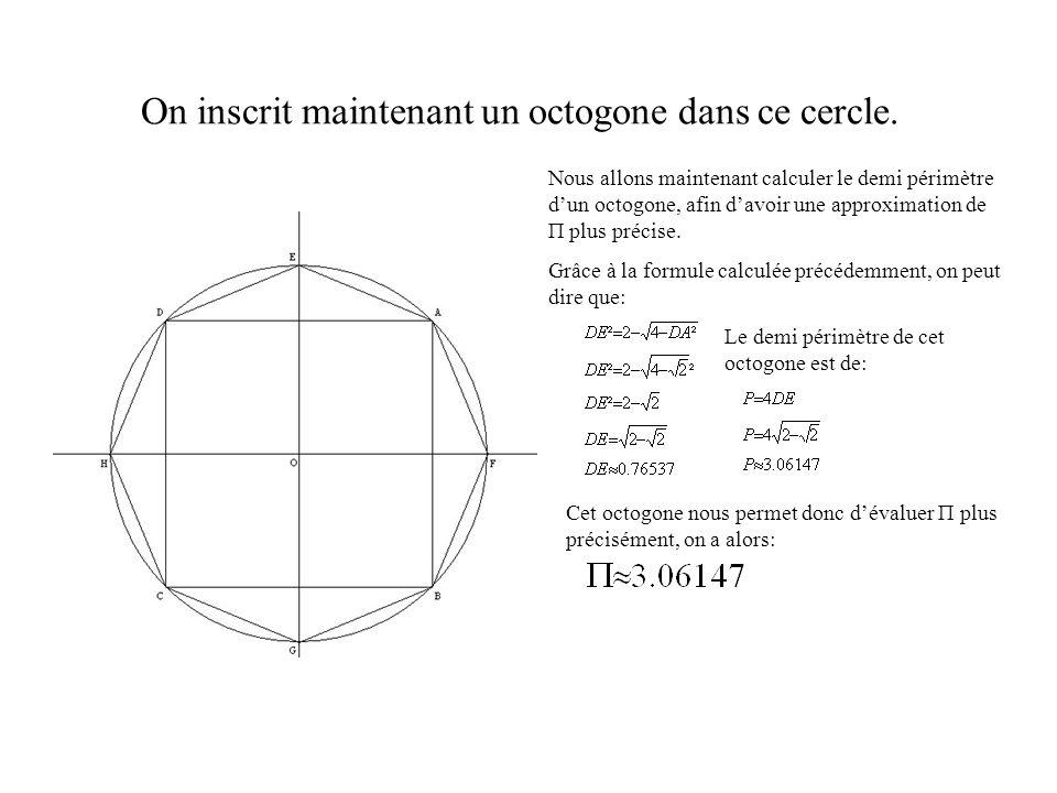 On inscrit maintenant un octogone dans ce cercle.