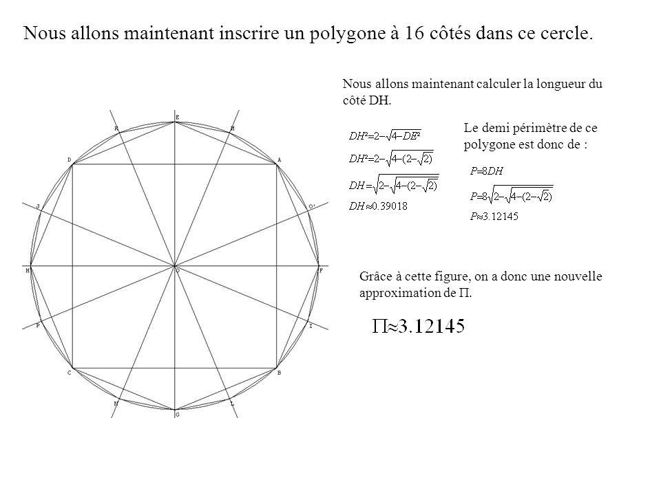 Nous allons maintenant inscrire un polygone à 16 côtés dans ce cercle.