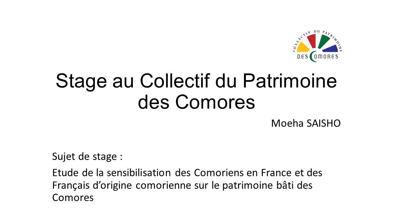 Stage au Collectif du Patrimoine des Comores