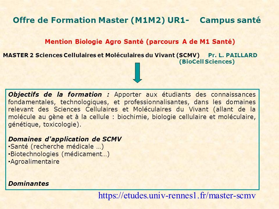 Mention Biologie Agro Santé (parcours A de M1 Santé)