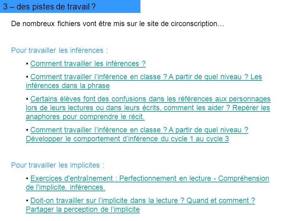 3 – des pistes de travail De nombreux fichiers vont être mis sur le site de circonscription… Pour travailler les inférences :