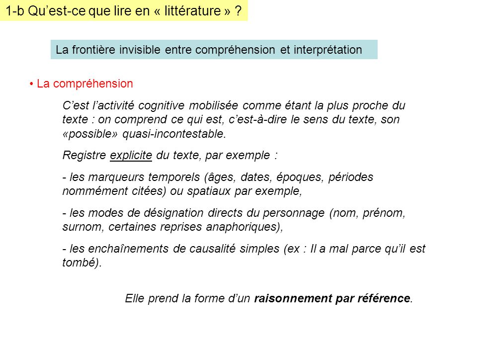 1-b Qu'est-ce que lire en « littérature »