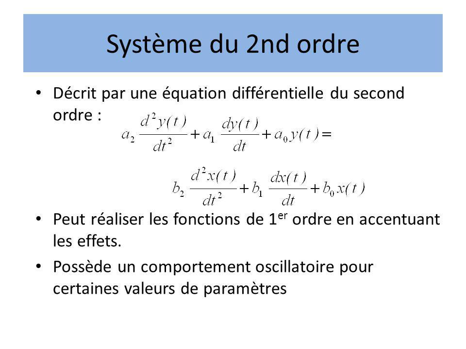 Système du 2nd ordre Décrit par une équation différentielle du second ordre : Peut réaliser les fonctions de 1er ordre en accentuant les effets.