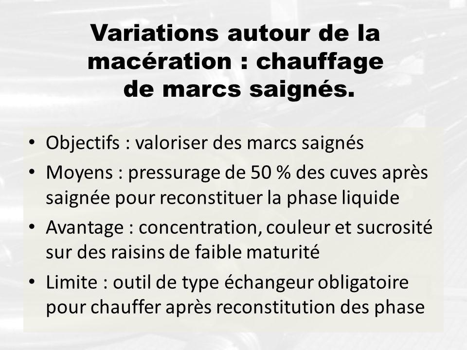 Variations autour de la macération : chauffage de marcs saignés.