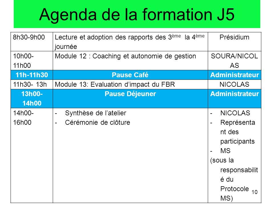 Agenda de la formation J5