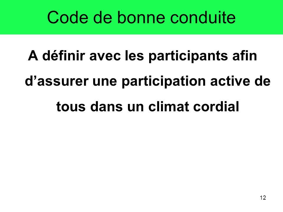 Code de bonne conduiteA définir avec les participants afin d'assurer une participation active de tous dans un climat cordial.