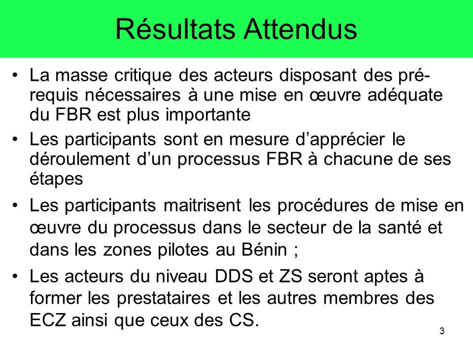 Résultats AttendusLa masse critique des acteurs disposant des pré-requis nécessaires à une mise en œuvre adéquate du FBR est plus importante.