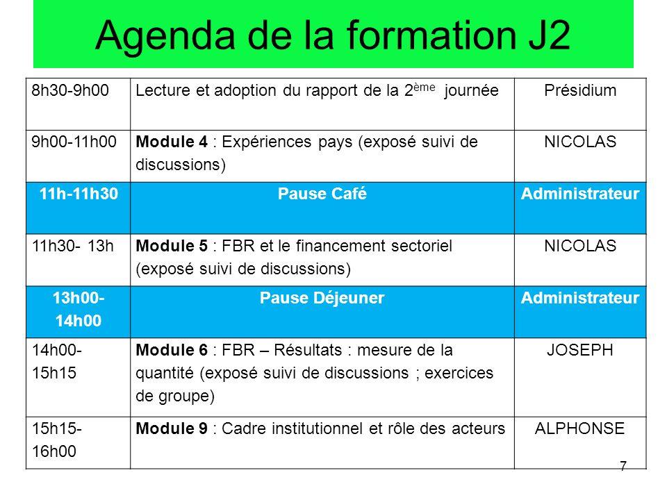 Agenda de la formation J2