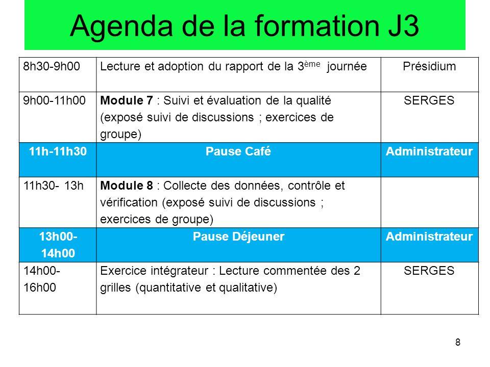 Agenda de la formation J3