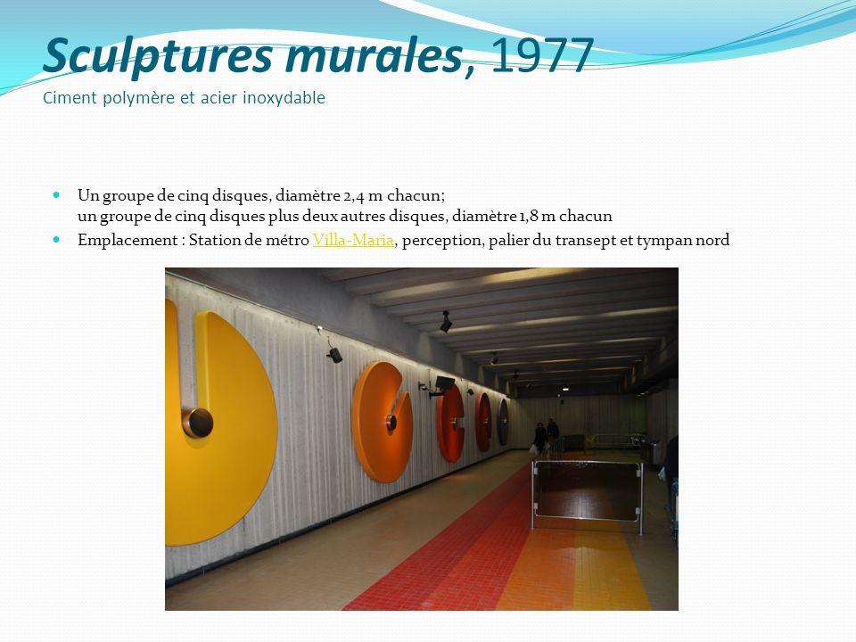 Sculptures murales, 1977 Ciment polymère et acier inoxydable