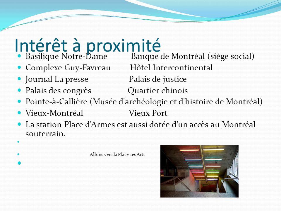 Intérêt à proximitéBasilique Notre-Dame Banque de Montréal (siège social) Complexe Guy-Favreau Hôtel Intercontinental.