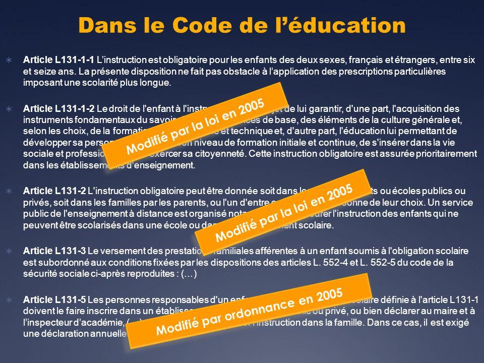 Dans le Code de l'éducation