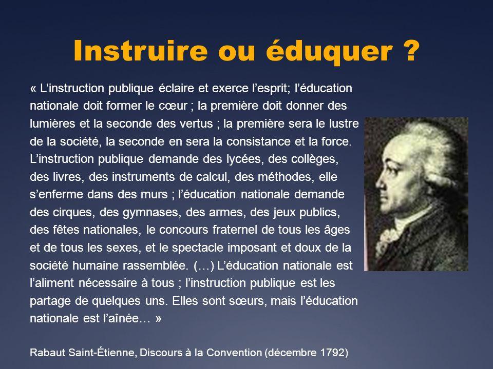 Instruire ou éduquer