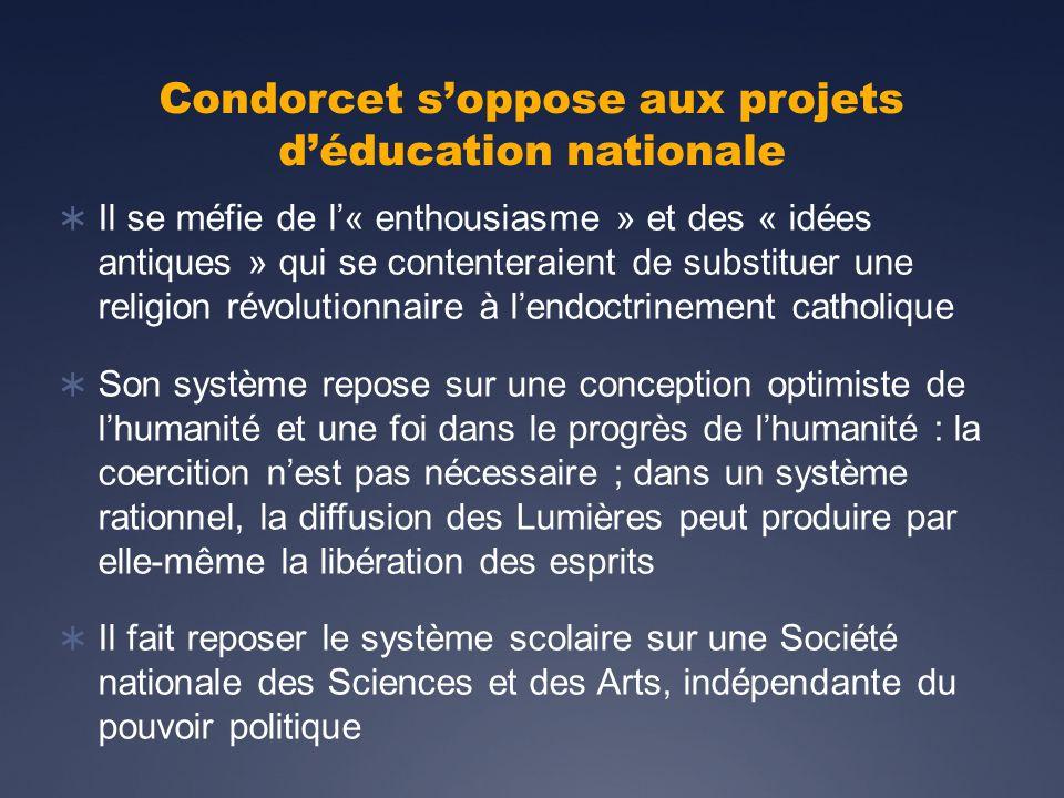 Condorcet s'oppose aux projets d'éducation nationale