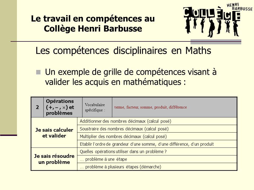 Les compétences disciplinaires en Maths