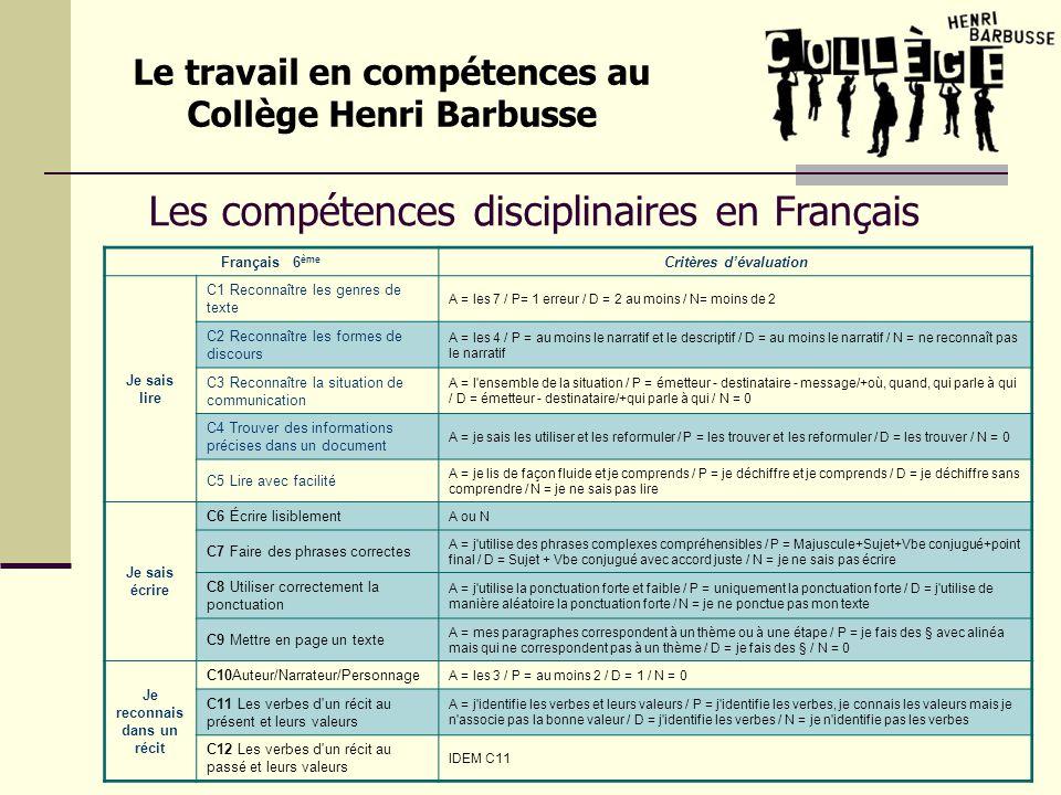 Les compétences disciplinaires en Français