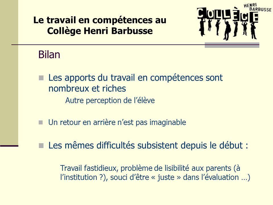 Le travail en compétences au Collège Henri Barbusse