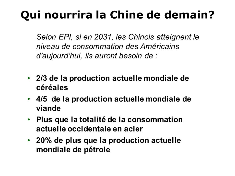 Qui nourrira la Chine de demain
