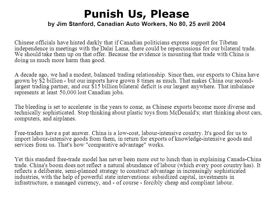 Punish Us, Please by Jim Stanford, Canadian Auto Workers, No 80, 25 avril 2004