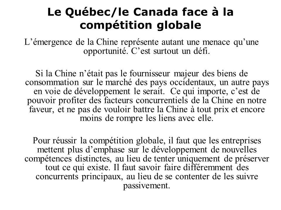 Le Québec/le Canada face à la compétition globale