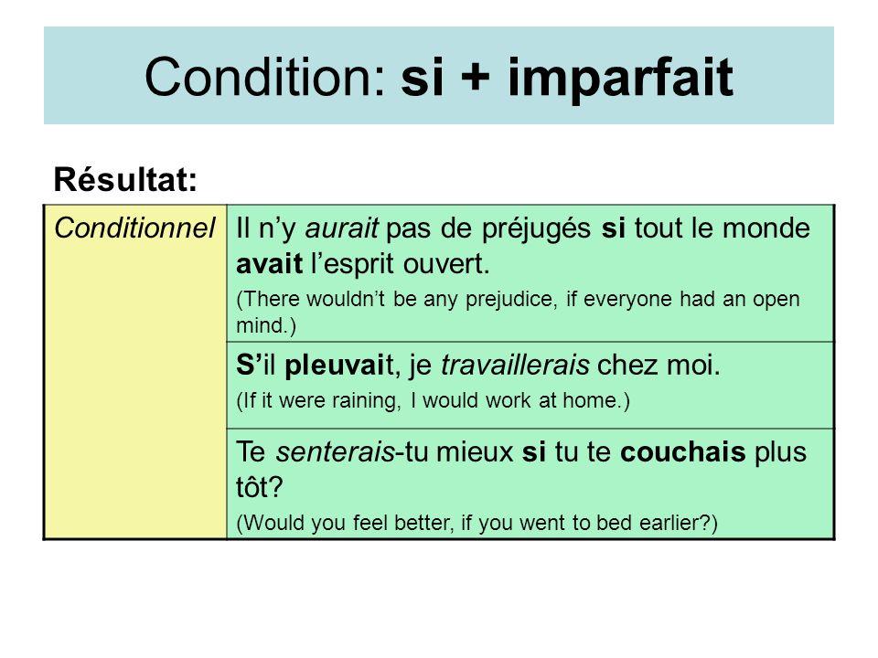 Condition: si + imparfait