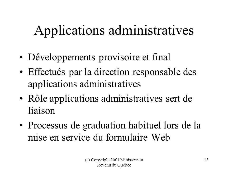Applications administratives