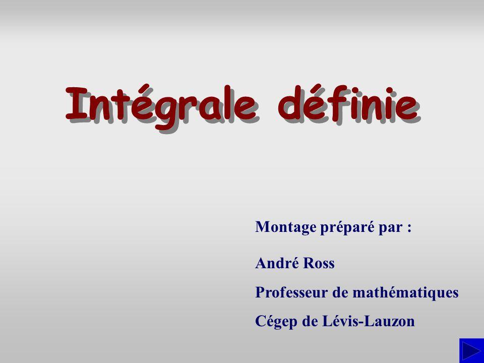 Intégrale définie Montage préparé par : André Ross