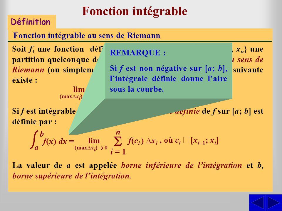 S S Fonction intégrable - S Définition
