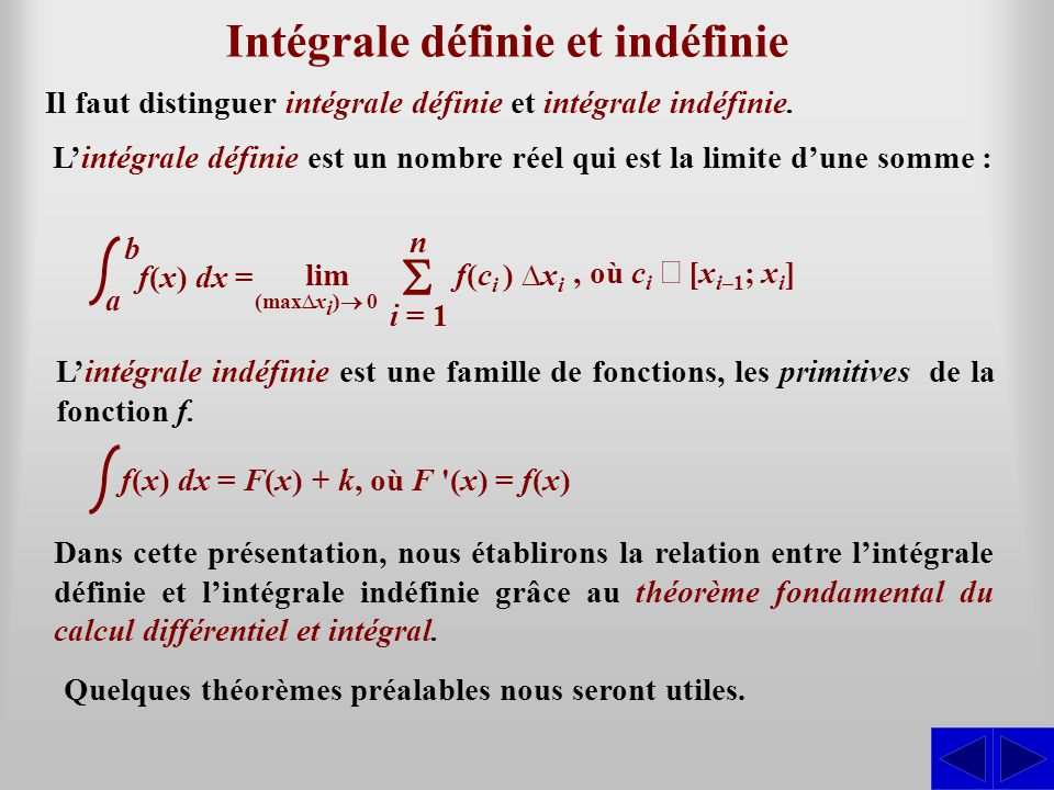 Intégrale définie et indéfinie
